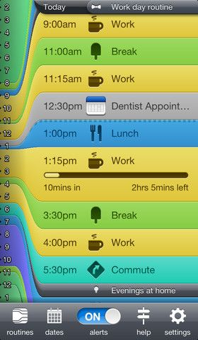 Daily Routine ($2.99) Create daily routines and stick to them. With notifications, sync (iCloud & Dropbox), calendar integration, print, PDF saving, data import & export and email support.  Do you forget to take breaks from work? Daily Routine can remind you. Taking too many breaks? Daily Routine's handy there too. Want a pretty print-out of your average day? Easily done.    Notifications • Remind yourself what should be doing and when  • Create reminders for everyday tasks you often forget