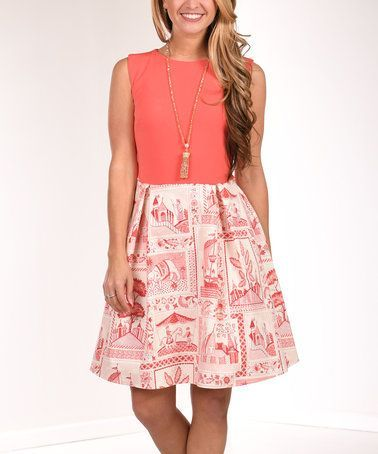 Another great find on #zulily! Coral & Ivory Elephant Fit & Flare Dress #zulilyfinds