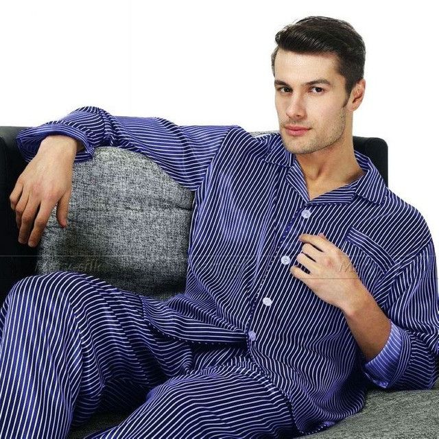 Great Gifts_ Mens Silk Satin Pajamas Set Pajama Pyjamas PJS Sleepwear Set Loungewear U.S ,S,M,L,XL,XXL,3XL Plus Striped