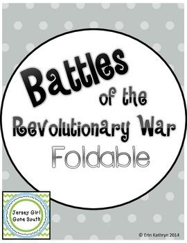 This foldable is a great way for students to take notes while learning about the battles of the Revolutionary War.  Battles Included:- Battle of Lexington and Concord- Battle of Bunker Hill- Battle of Trenton- Battle of Saratoga- Valley Forge- Battle of YorktownThis foldable covers Georgia Performance standards:SS4H4 The student will explain the causes, events, and results of the American Revolution.c.Describe the major events of the AmericanRevolution and explain the factors leading…