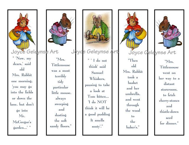 Printable Bookmarks For Kids Beatrix Potter Party Favors