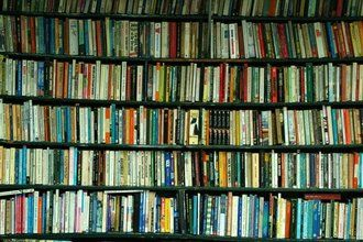 Book filled shelves at Acres of Books, Long Beach, California. This place was legendary.