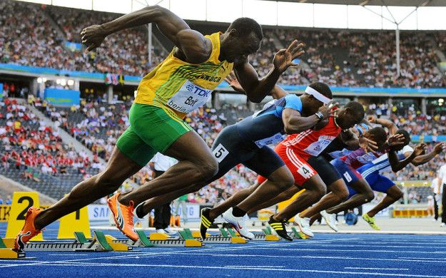 """Usain Bolt is fast, but he is actually slower than most other sprinters at the start. 
