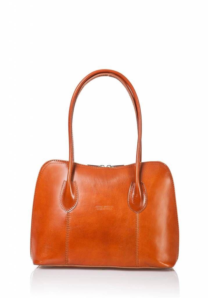 Schouder tas-handtas van leder uit Italië cognac kleur
