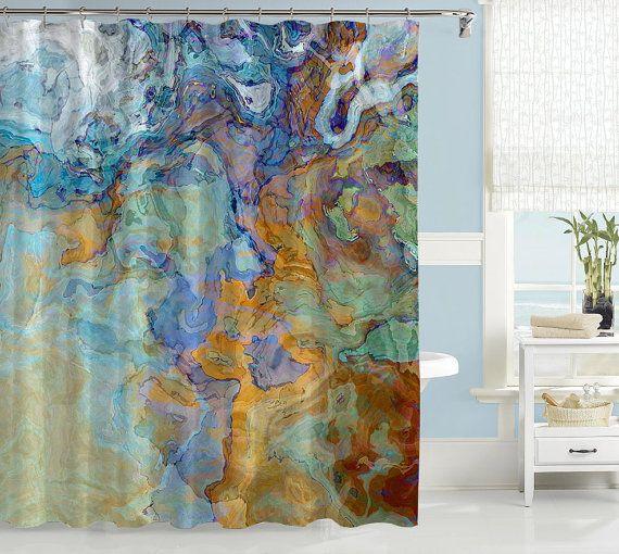 Rideau de douche contemporain, rideau de douche bleu, bleu-vert, orange et marron, décor de salle de bains art abstrait, art de la salle de bain, pont