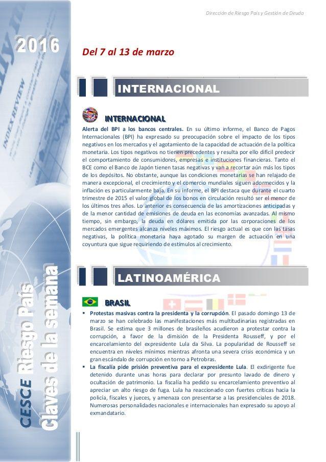 Resumen de las noticias internacionales más destacadas del 7 al 13 de marzo de 2016, elaborado por el departamento de Riesgo País de CESCE