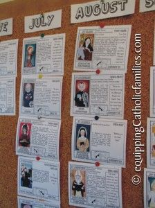 Saints Calendar Pinboard with the new Saint Scripts Craft Kits at Equipping Catholic Families