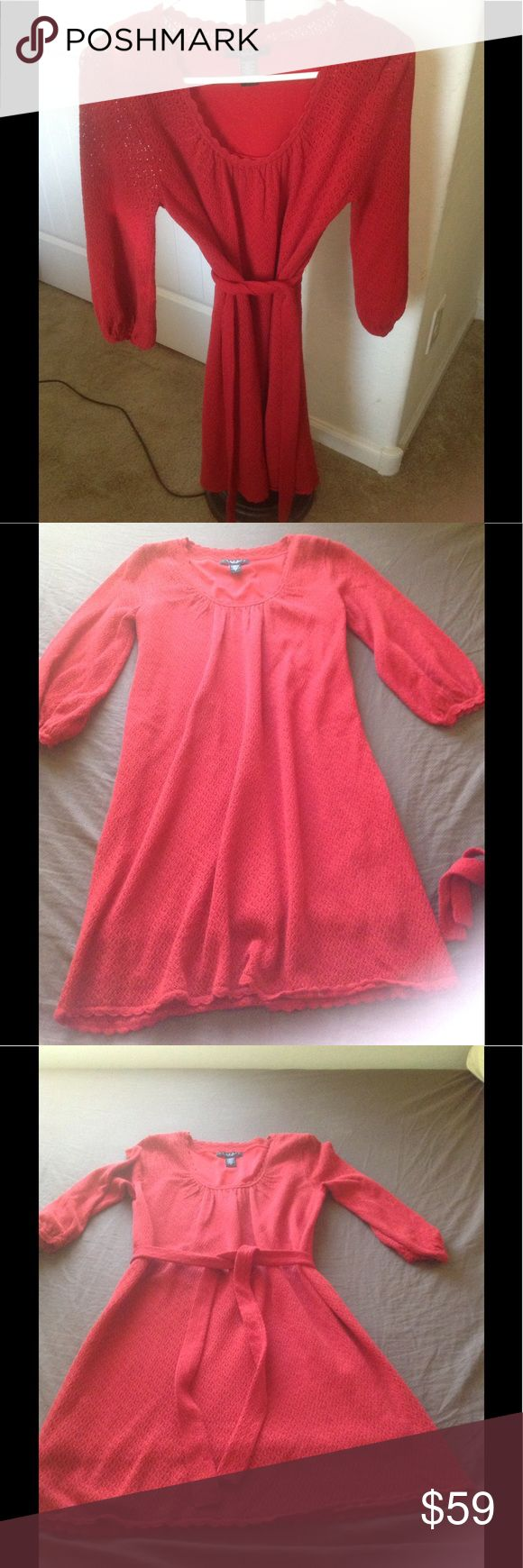 Beautiful light knit Red Laundry Dress This a beautiful Light knit red dress it is two piece. Has the liner underneath. Can be worn tied at the waist or without sash. In good preloved condition Laundry By Shelli Segal Dresses