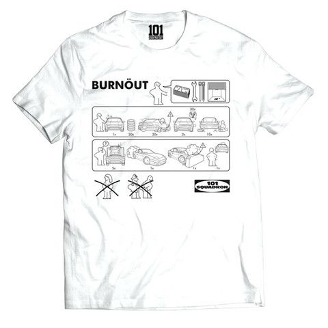 BURNÖUT Shirt - White | 101-squadron