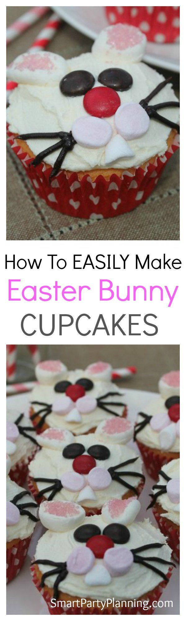 Easter bunny cupcakes are incredibly easy to make and they look fantastic. Follow this step by step tutorial and make these cheeky bunny cupcakes with the kids.  If you are looking for an easy dessert that the whole family will love, then this one will be super easy for you. #Easter #Cupcakes #Bunny #Kids