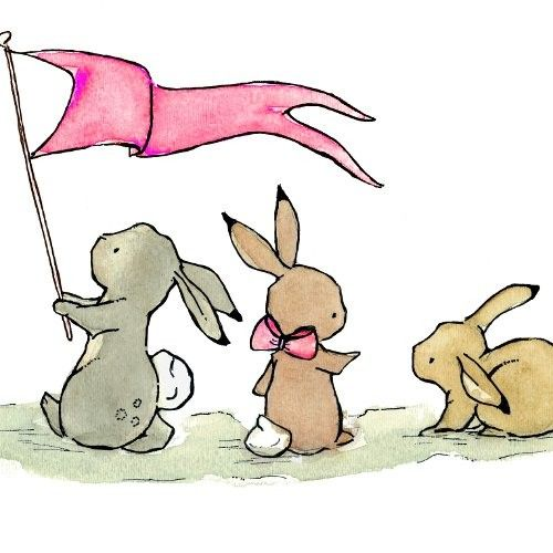 Baby Art  Bunny Parade in bubblegum pink 8X10  by trafalgarssquare, $20.00 ~ very cute!
