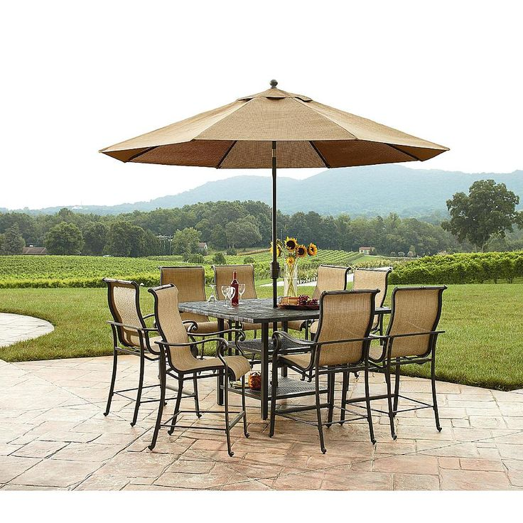Agio International Panorama Outdoor 9 Piece High Dining Patio Set   Outdoor  Living   Patio Furniture