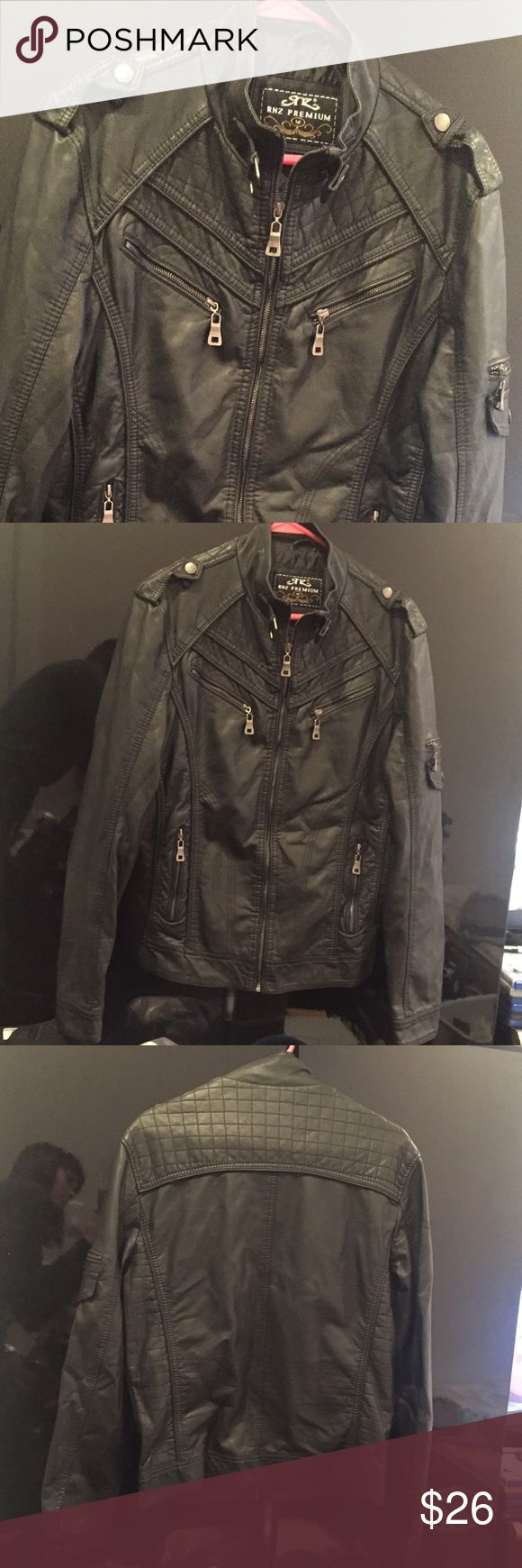 Men's leather jacket Men's black faux leather jacket in great condition! Comfy and badass. Size men's medium. Jackets & Coats