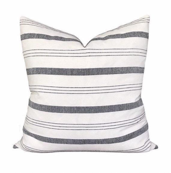 Kufri Lima Stripe Pillow In Natural Black White Grey Striped Pillow Farmhouse Pillow Decorative Pillow Accent Pillow Stripe Pillow Farmhouse Pillows Decorative Pillows