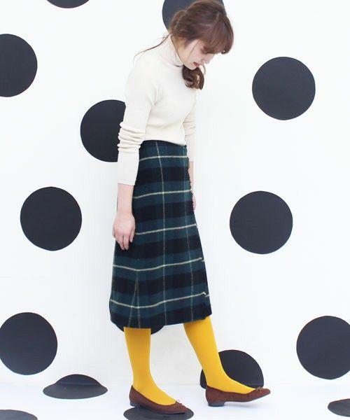 AMBIDEX Store リサイクルウールタータンチェック 巻きスカート(F アカ): Dot and Stripes CHILD WOMAN