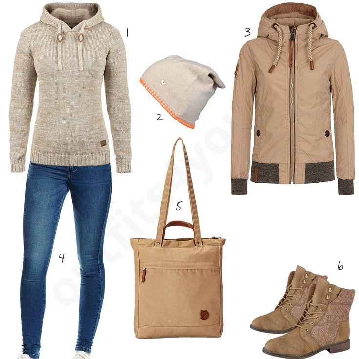 beiges damen outfit mit desires pullover w0607 ropa. Black Bedroom Furniture Sets. Home Design Ideas