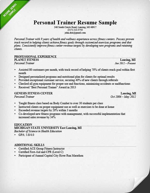 Personal Trainer Resume Sample And Writing Guide Resume Examples