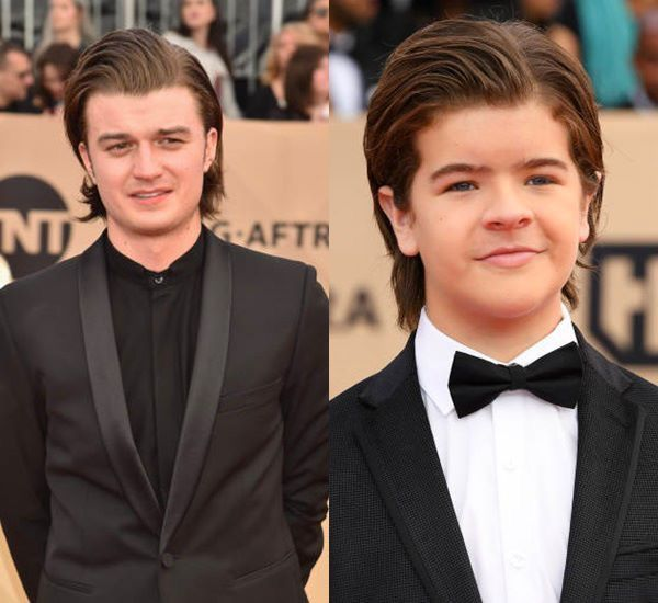 The emulation here is extremely noticeable, even outside of the show Gaten is emulating Joe Keery (Steve Harrington)