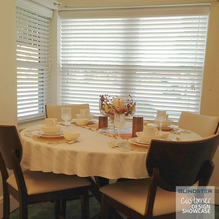 Customer Showcase   Deluxe Faux Wood Blind In Dinning Room In White 110