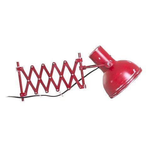 Scissor Red - Luminária articulada de parede, toda em metal, com regulagem de profundidade, tem movimentos laterais e a cúpula tem movimentos verticais, cor vermelha vintage como desgastes em algumas partes, protegida por verniz incolor. Funciona com lâmpadas 110 e 220V. 02 peças disponíveis - em vermelho com tonalidades diferentes.