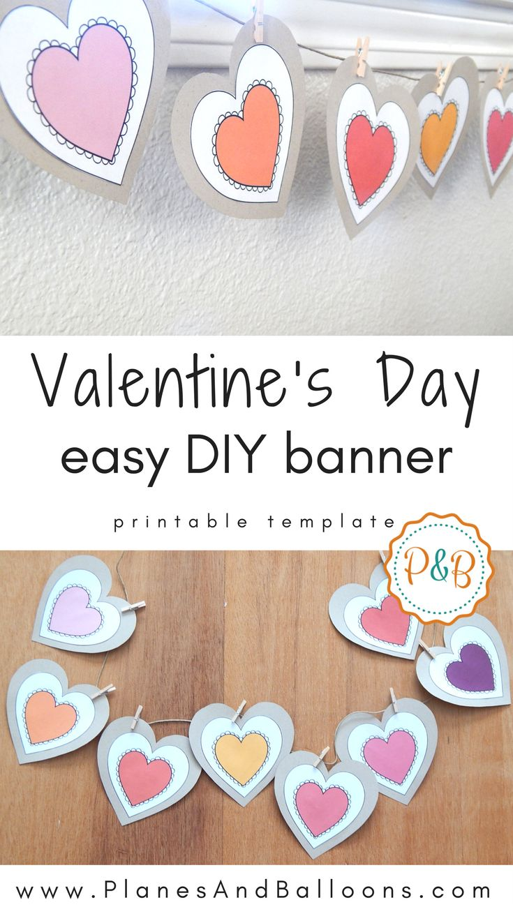 Cute and colorful heart banner for my Valentine's day decorations DIY projects. I might use the hearts as gift tags as well as a heart banner.