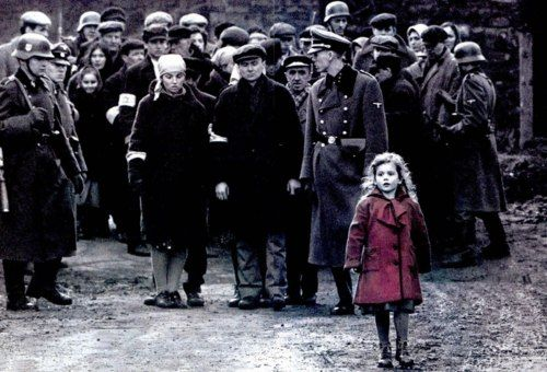 Although Schindler's List (1993) is primarily shot in black-and-white, red is used to distinguish a little girl in a coat. Later in the film, the girl is seen among the dead, recognizable only by the red coat she is still wearing. Although it was unintentional, this character is coincidentally very similar to Roma Ligocka, who was known in the Kraków Ghetto for her red coat.