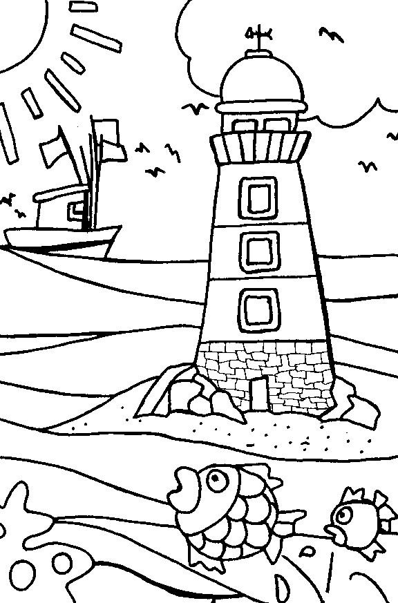 Printable Lighthouse Beach Coloring Pages