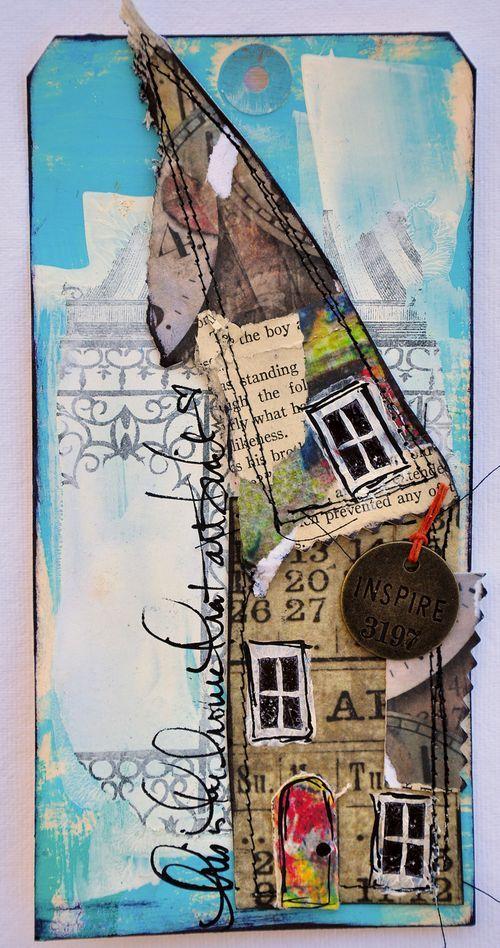 Dina WakleyLittle House, Dinawakley, Art Journals House, Collage Art, Dina Wakley, Journals Pages, Art House, Paper House, Mixed Media Collage
