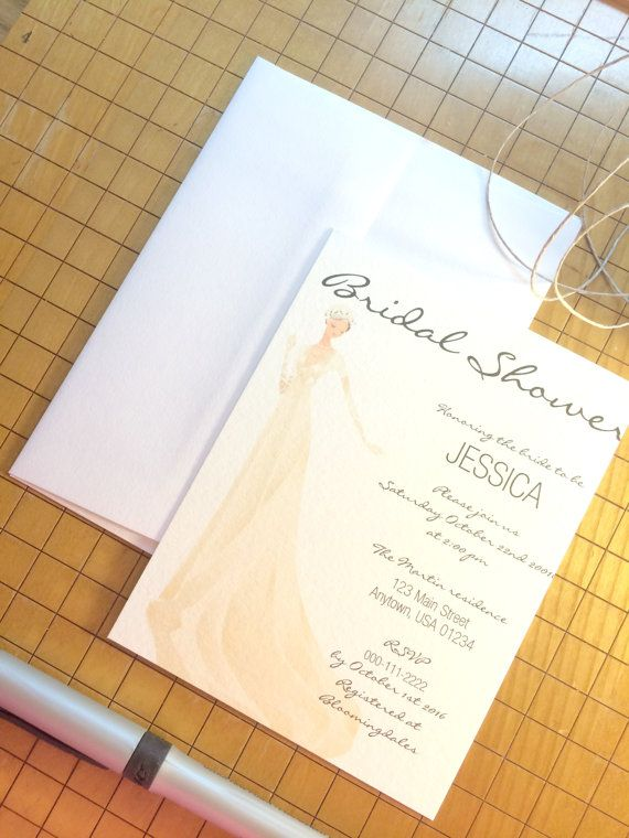 Set of 8 Elegant Bridal Shower Invitations by JCBDesignStudio