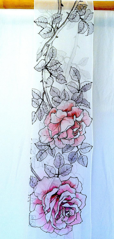 Hand Painted Silk Scarf. White Pink Roses Silk Scarf. Luxury Silk. Silk Chiffon Scarf. Floral Silk Scarf. Silk Scarves Takuyo.11x90.. $125.00, via Etsy.