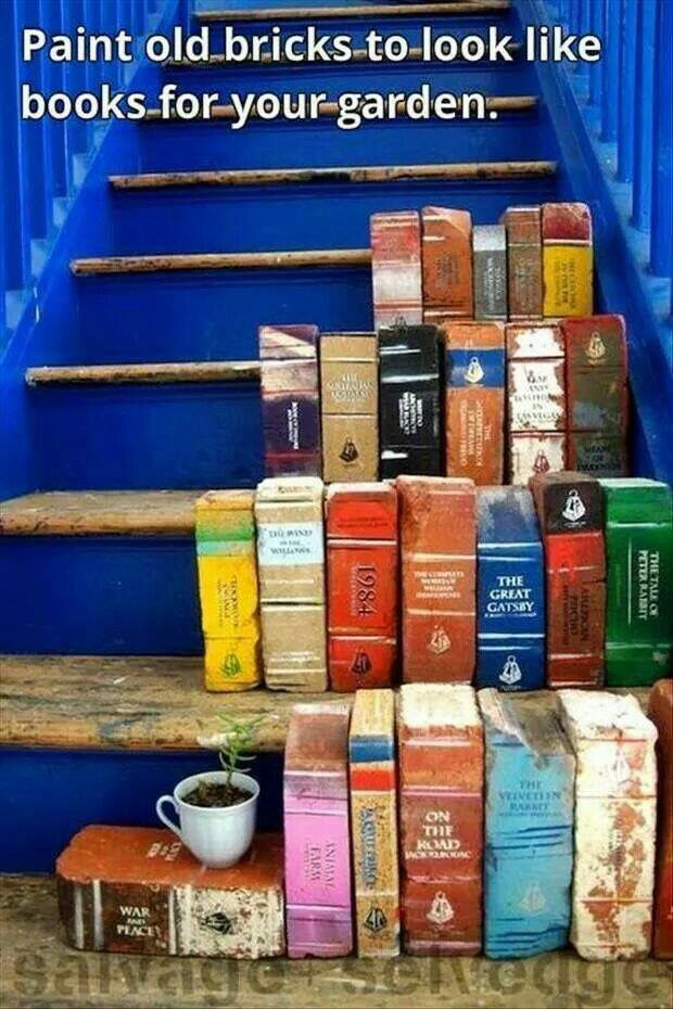 Paint bricks to look like the spines of your favorite classic books!