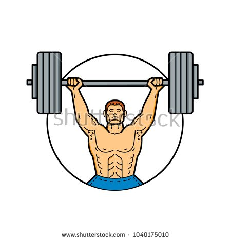 Mono line illustration of a weightlifter, athlete, personal trainer exercising lifting barbell weights viewed from front set inside circle done in monoline style.  #weightlifter #monoline #illustration