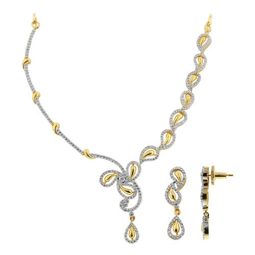 Gold Plated Cubic Zirconia Bollywood Indian Necklace Earrings Set #JS139