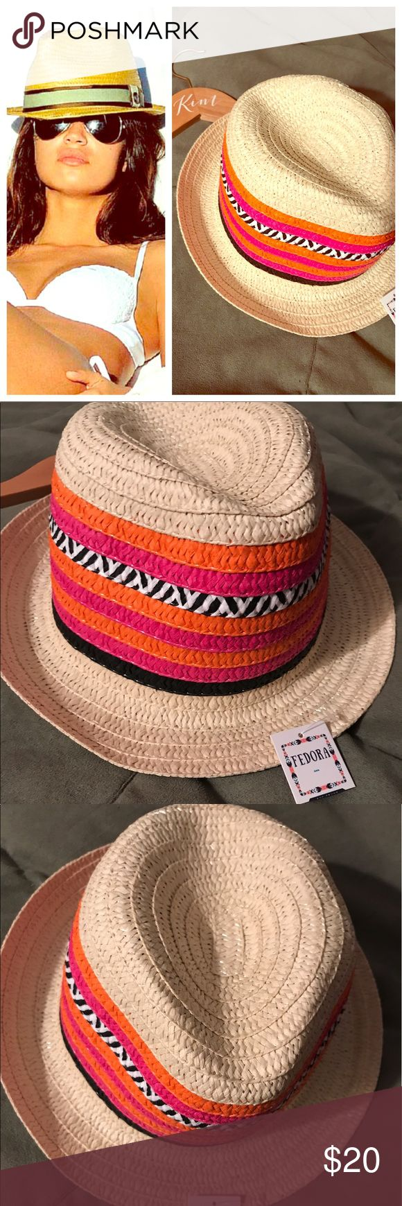 """Summer Ready! SUPER CUTE, Colorful Fedora Hat Nude Tan color, stripes of black, fuchsia and bright orange. And the CUTEST Zebra print stripe in the middle! Perfect sized brim to keep your face and eyes out of the sun. The fabric is nice and flexible and can be put into any position you'd like it to be. I'm SO obsessed with this hat I obviously had to get one for myself! 71/2"""" Wide 8"""" Long, 4"""" Tall from the base of the brim. I hope the dimension photo helps, I was so pumped to find the blank…"""