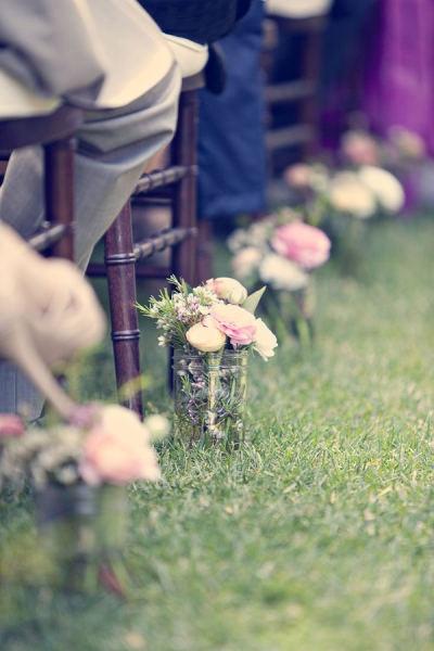 mason jar, isle, decor, ceremony, flowers, wedding