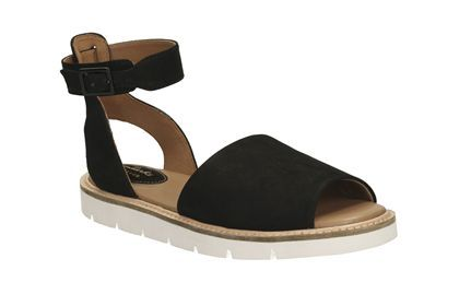 Womens Casual Sandals - Lydie Hala in Black Nubuck from Clarks shoes