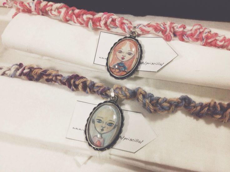 Necklace, jewellery, crochet, cameo, faces, design, handmade, illustration