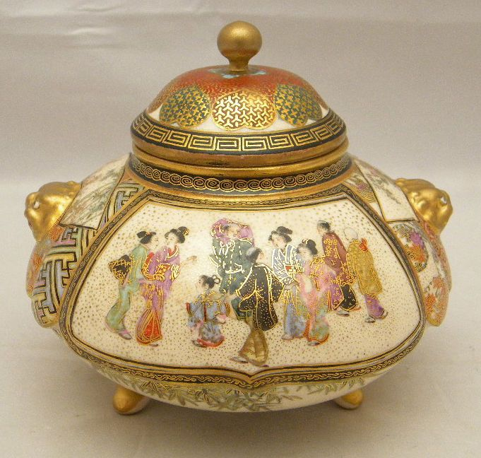 Fine Japanese Meiji tripod Satsuma Jar, signed in Antiques, Asian/ Oriental Antiques, Japanese | eBay