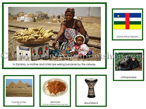 Printable Montessori Materials for Geography Folder of Africa - Montessori Learning at home and school.