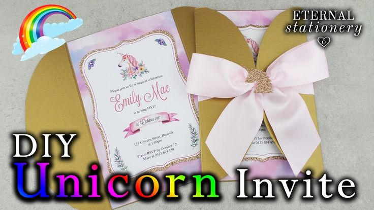 How to make an easy UNICORN Invitation   DIY birthday party Invitation