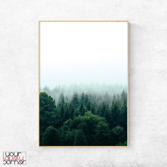 Forest Print Pine Tree Forest Wall Art Misty Forest Poster Nature Photography Foggy Forest Digital Download Green Forest Home Art Decor Forest Wall Art Metal Tree Wall Art Metal Tree