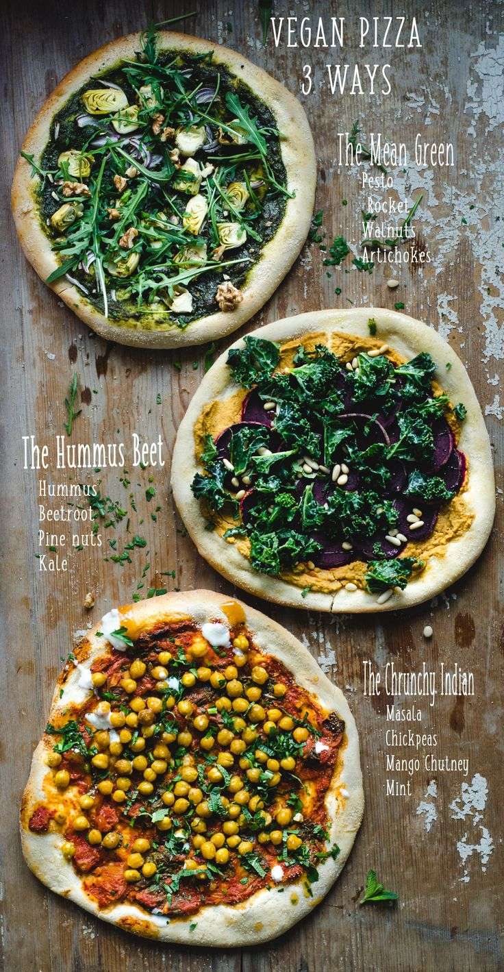 These three varieties of vegan pizza—The Mean Green, The Hummus Beet, and The Crunchy Indian—have us seriously craving a hot-out-of-the-oven vegan pizza.
