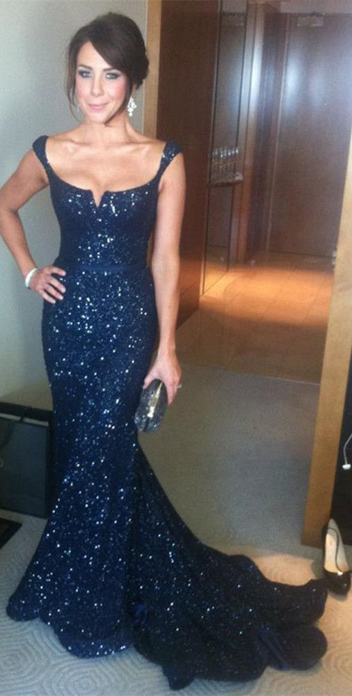 109$-Fantastic Navy blue sexy sequin Long evening dress Special occasions dress mermaid open back celebrity-inspired dresses sk01.