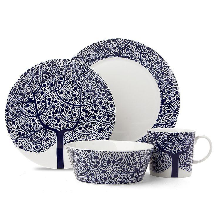 Royal Doulton Fable Blue Tree Dinner Set 16pce Blue