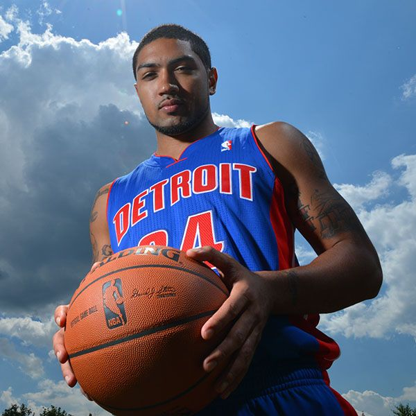 Peyton Siva of the Detroit Pistons poses for a portrait during the 2013 NBA Rookie Photo Shoot on August 6, 2013 at the MSG Training Facility in Tarrytown, New York. (Photo by Jesse D. Garrabrant/NBAE via Getty Images)