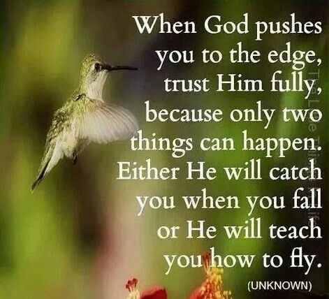 When God pushes you to the edge, trust Him fully, because only two things can happen. Either He will catch you when you fall or He will teach you how to fly.
