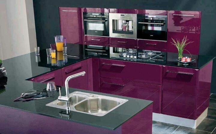 Beautiful Purple Black Kitchen Design Interior