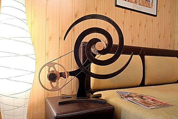 VORTEX  Wooden Kinetic Sculpture  Dark wood by WoodenKineticArt