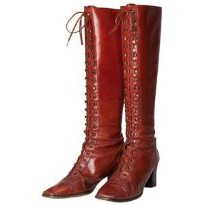 Preowned 1970s Yves Saint Laurent Couture Brick Red Leather Heeled Lace-up Tall Boots