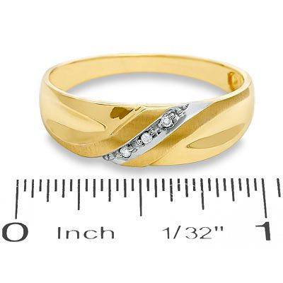 Men's Diamond Accent Slant Wedding Band in 10K Gold - Save on Select Styles - Zales